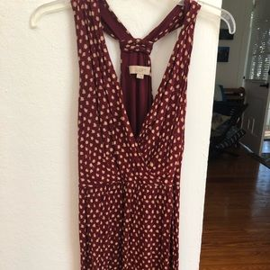 - Loft Halter Garnet and Gold Dress